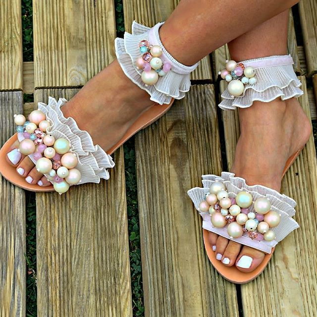 "sandals with pearls, Flat Wedding Sandals, Greek Sandals,Bridal Sandals, Beach wedding sandals, Handmade Sandals, ""Cufeto"" Anklet Sandals"