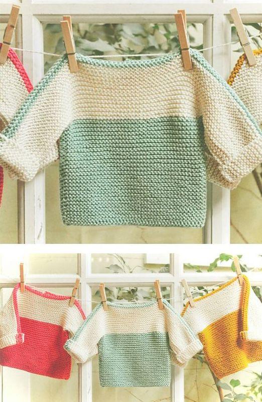 French Macaroon Baby Sweater - Free Knitting Pattern #knittingpatternsfree