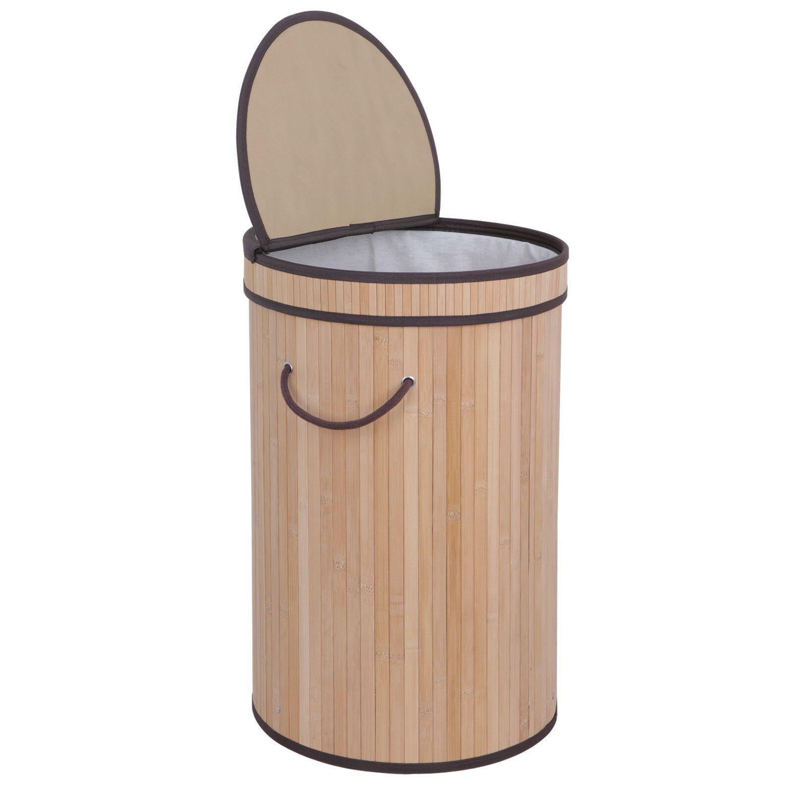 Bamboo Hamper Laundry Basket Washing Cloth Storage Bin Bag W Lid