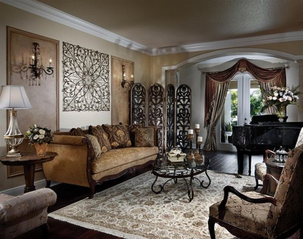 Country style living room interior design with metal wall art and