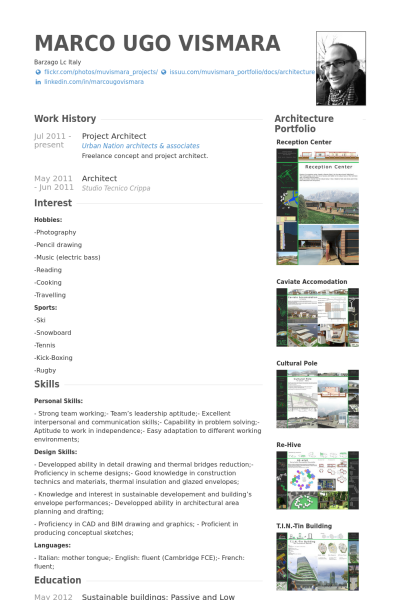 project architect resume example cosas de arquitectos