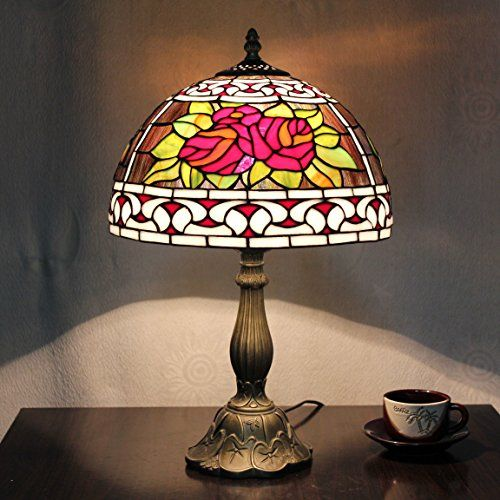 12 inch vintage pastorale romantique fleurs stained glass tiffany table lamp chambre lampe lampe. Black Bedroom Furniture Sets. Home Design Ideas