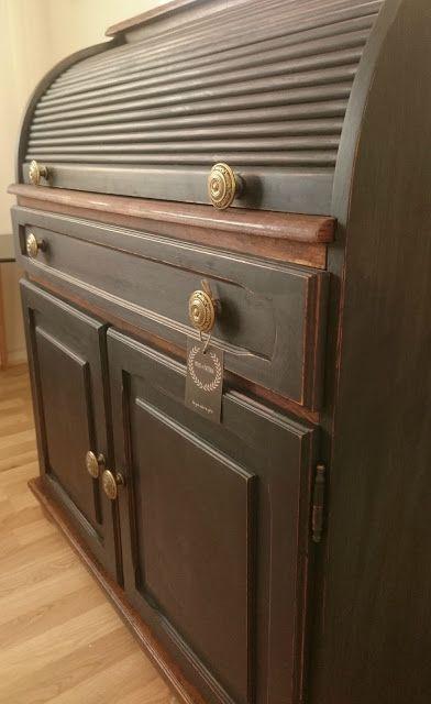 Roll top desk painted in Miss Mustard Seed milkpaint, Typewriter black and hempoil - Frugal Furbishing -
