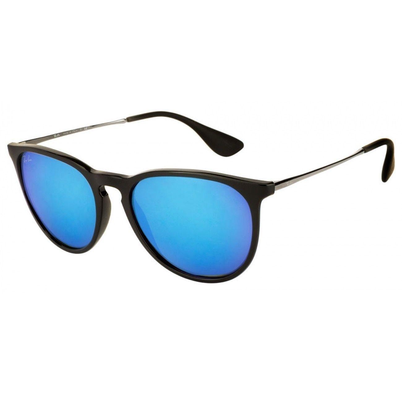 6fcf46a83e293 Ray-Ban Erika RB4171 601 55 Women s  Silver Frame Blue Mirror 54mm Lens  Sunglasses