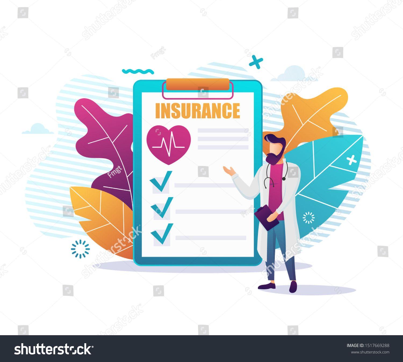 Health Insurance Flat Advertising Medical Banner Vector Offering