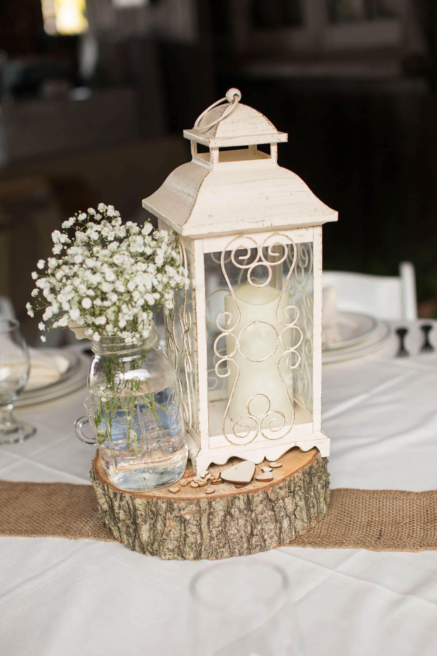 Wondrous Rustic Wedding Centerpiece With Wood Block White Lantern Download Free Architecture Designs Momecebritishbridgeorg