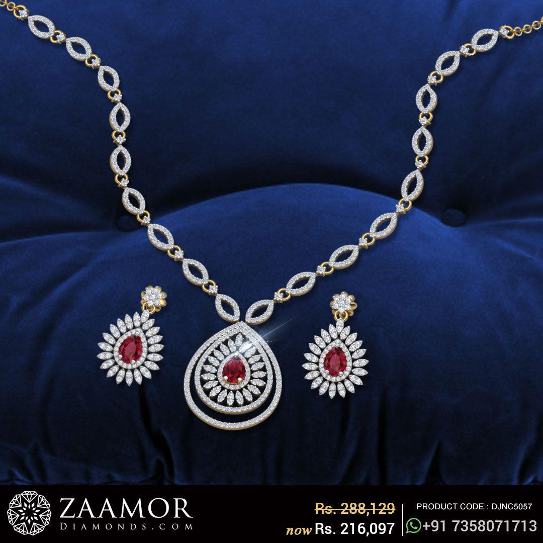 Teegan diamond and ruby necklace set diamond collections