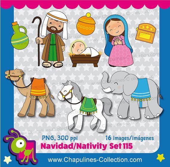 Nativity Clipart Bundle Color and Black/White, Christmas, Joseph ...