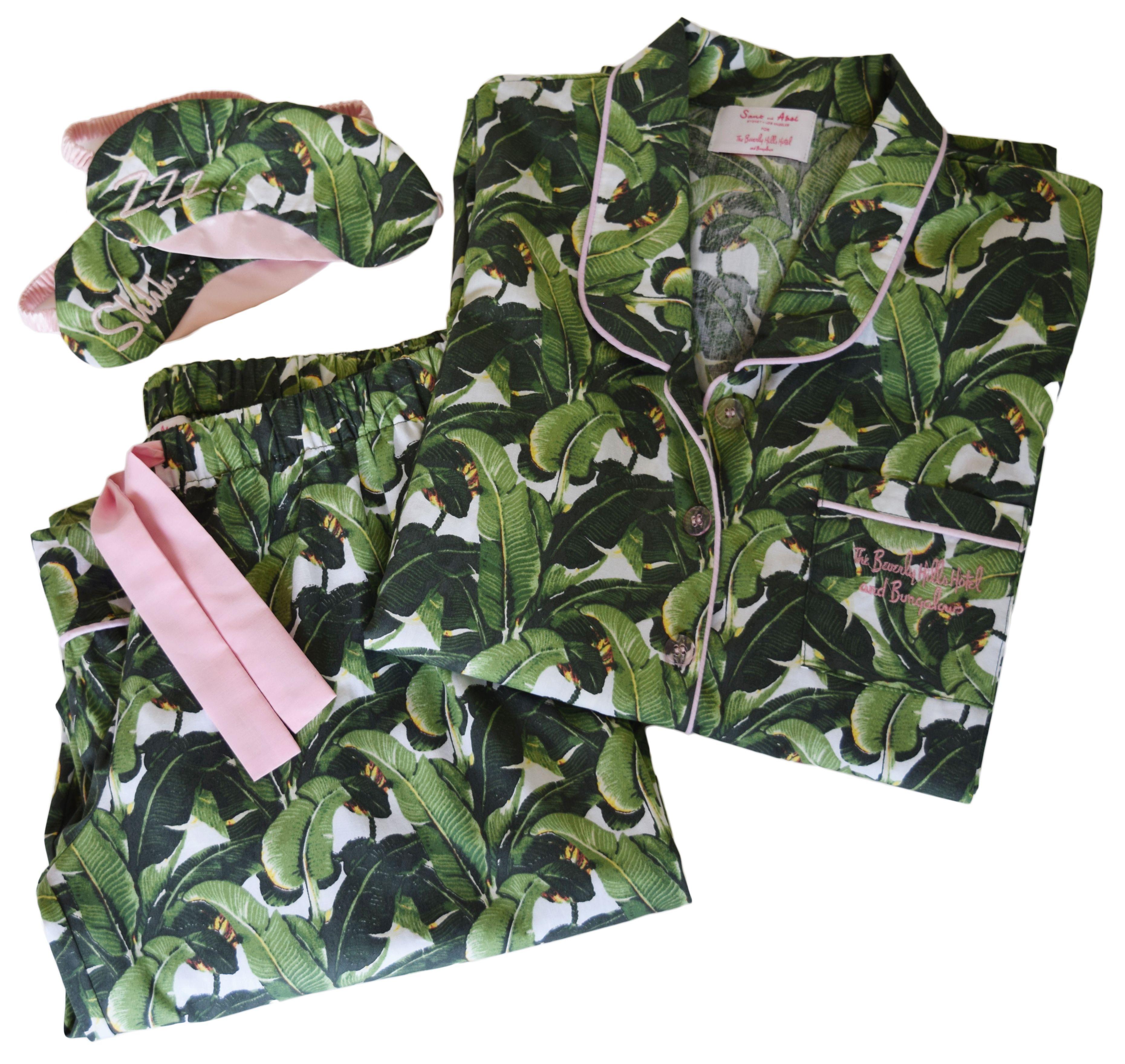 Women S Martinique Banana Leaf Pajama Set With Eye Mask
