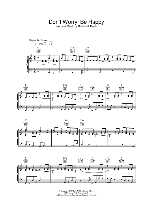 Don T Worry Be Happy Online Piano Lessons Digital Sheet Music Happy Words