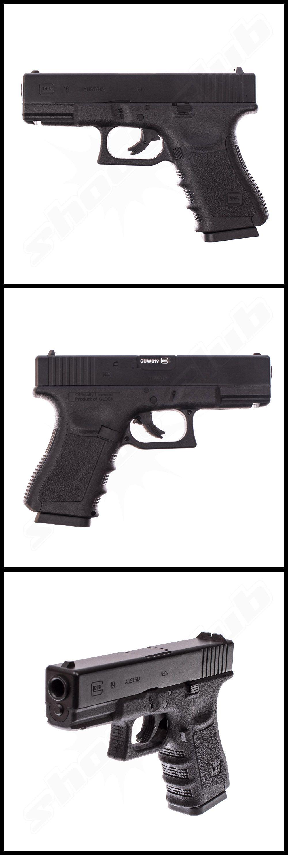 Glock 19 - CO2 Pistole / schwarz, Kaliber 4,5 mm mit Metallschlitten ...