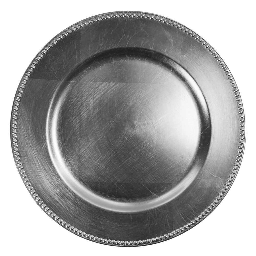The Jay Companies 13 Round Silver Beaded Melamine Charger Plate Tabl