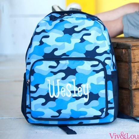 f396aec63491 Backpack Camo Blue by Viv & Lou | Products