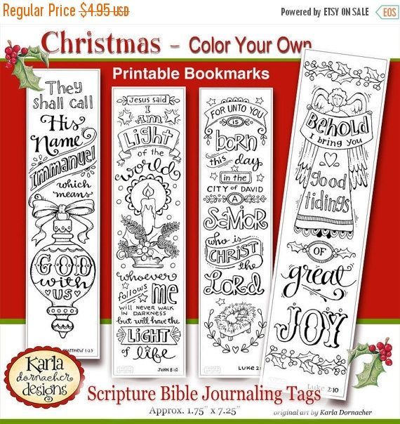 50 OFF SALE Christmas Color Your Own Bookmarks Bible Journaling Tags Tracers INSTANT