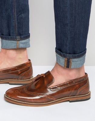 Shop ASOS Brogue Loafers in Tan Leather With Tassel at ASOS.