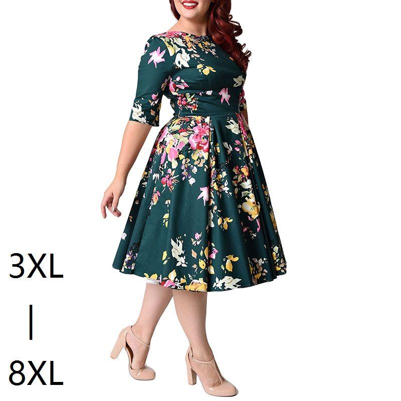 Große Größe 6XL 7XL 8XL Frauen Kleid Vintage Reißverschluss Gedruckt ...