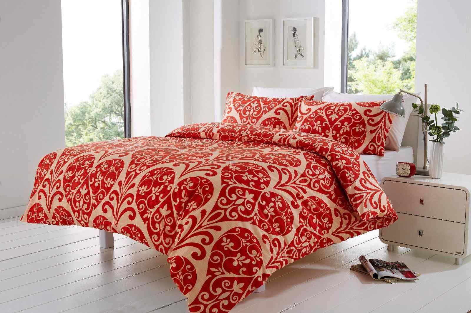 Printed Scarlett Duvet Cover Set Single Double Super King Size With Pillowcases