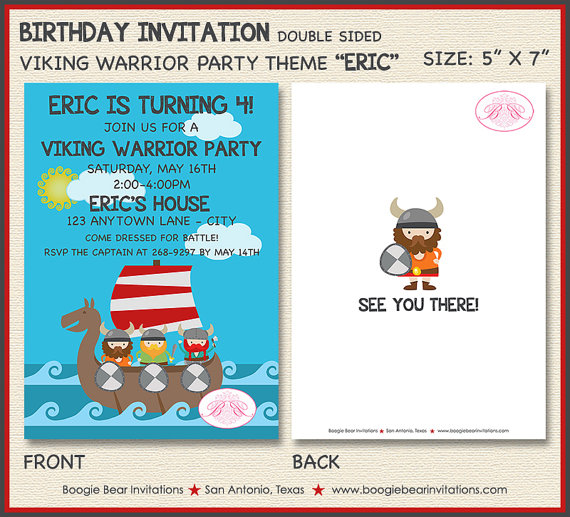 Viking Warrior Birthday Party Invitation Boy Girl Ocean