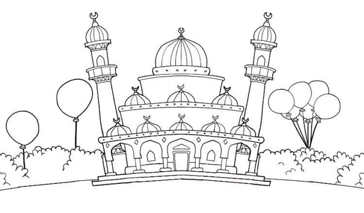 11 Contoh Mewarnai Gambar Masjid Sederhana Untuk Paud Tk Warna