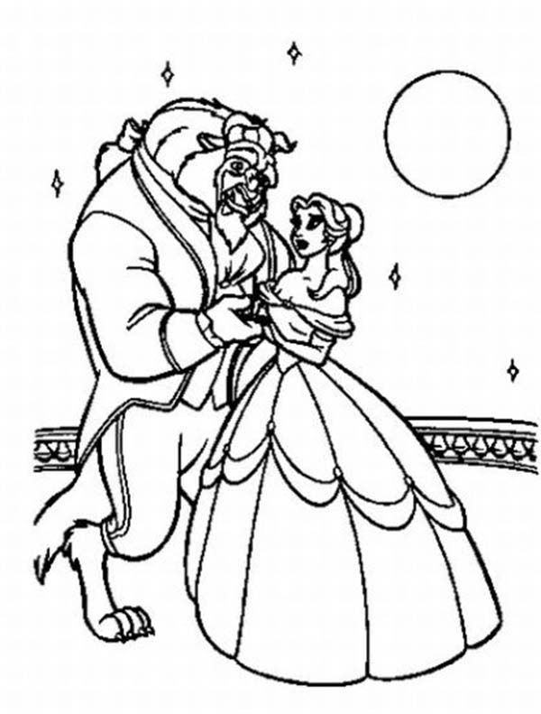 Belle And The Best Dancing In The Moonlight Coloring Page Belle