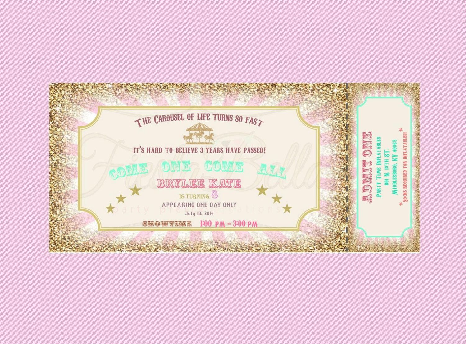 Carousel Carnival Ticket Style Invitation. Mint, Green, Pink, Gold, Bunting.  Free Printable Ticket Style Invitations