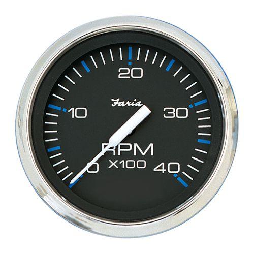 "Faria Chesapeake Black SS 4"""" Tachometer - 4,000 RPM (Diesel - Mechanical Takeoff & Var Ratio Alt)"