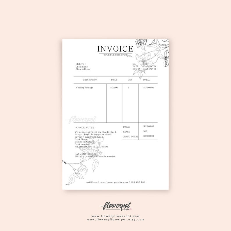 Printable Invoice Template In Black And White Flower For Craft Store Business And Online Shop In Pdf Template In 2021 Invoice Template Printable Invoice Custom Portrait Illustration