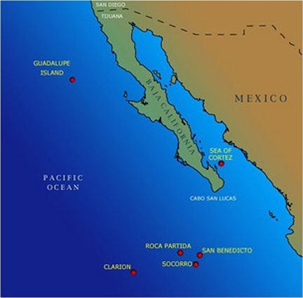 Map of islands off the coast of Baja California Mexico Guadalupe