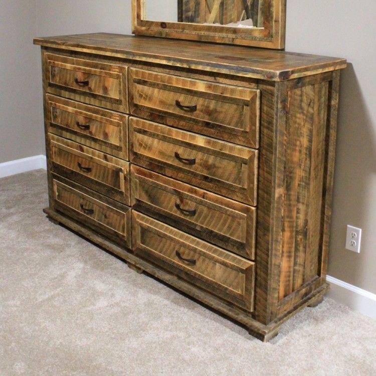Rural Root 8 Drawer Weathered Dresser Rustic Dresser Handmade Home Decor Rustic Furniture