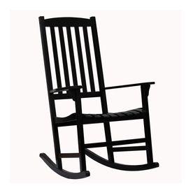 Boston Loft Furnishings Carolina Black Eucalyptus Composite Patio Rocking  Chair Atg4087