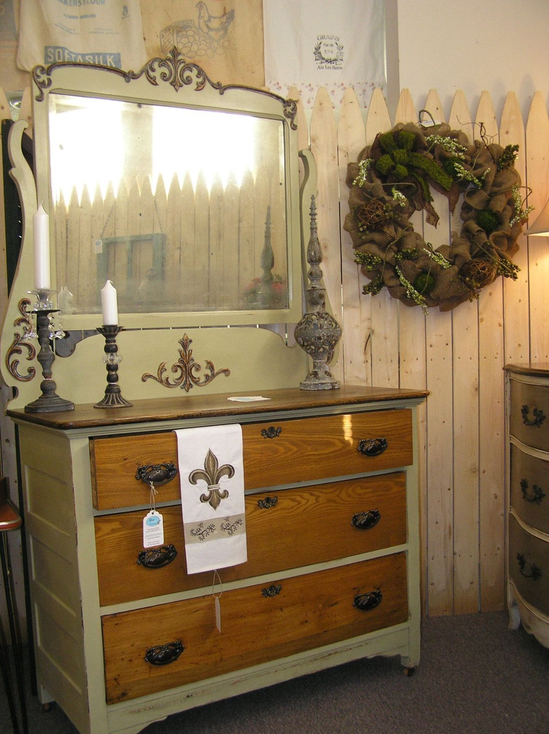Hue New Painted Furniture Antique Dresser With Mirror Hand Waxed Annie Sloan Chalk Paint In Versailles A Light Sage Green