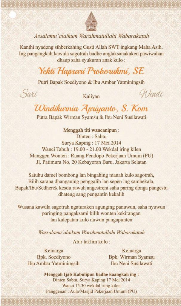 Undangan Nikah Bahasa Jawa Di era modern sekarang ini ...
