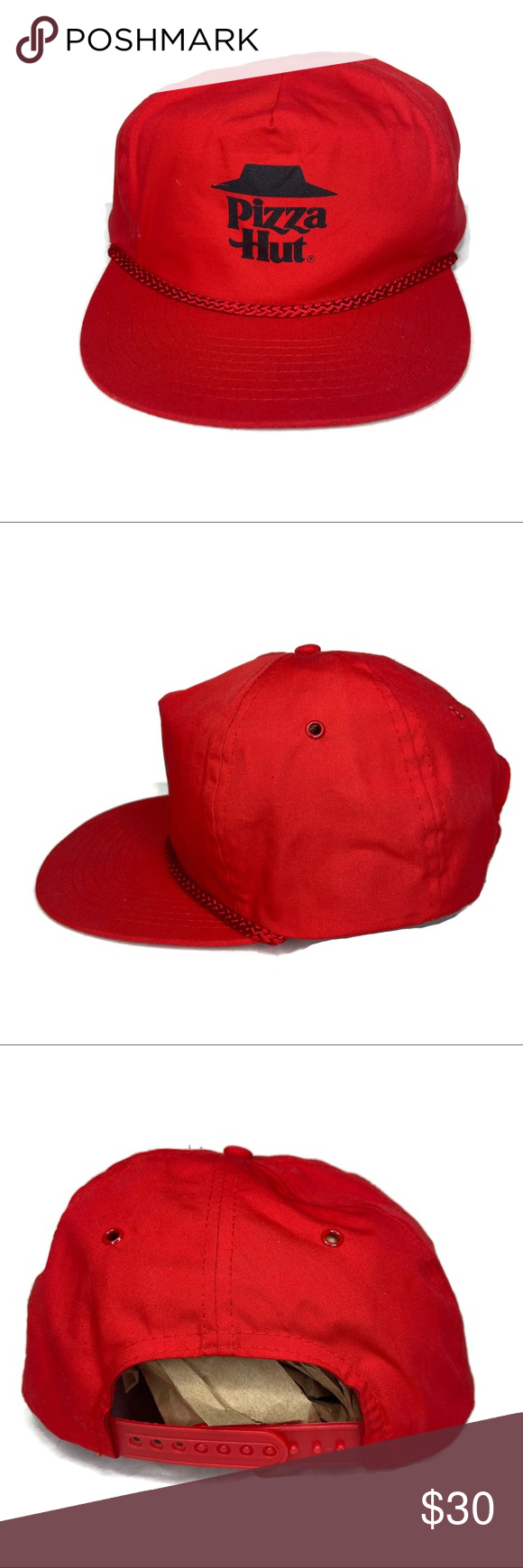 Vintage Pizza Hut Red Rope Snapback Hat Vintage Pizza Hut Red Rope Snapback Hat Hat In Very Good Shape Bill Is In Great Shape Pi Red Rope Snapback Hats Hats