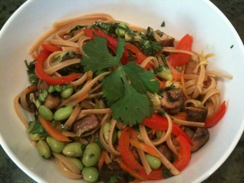 Asian Noodle and Veggie Stir Fry  http://juicybites.net/2012/05/08/asian-noodle-and-veggie-stir-fry/