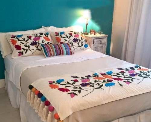 Kit para bordado mexicano pie de cama 2 plzs c dos for Cubrepies de cama