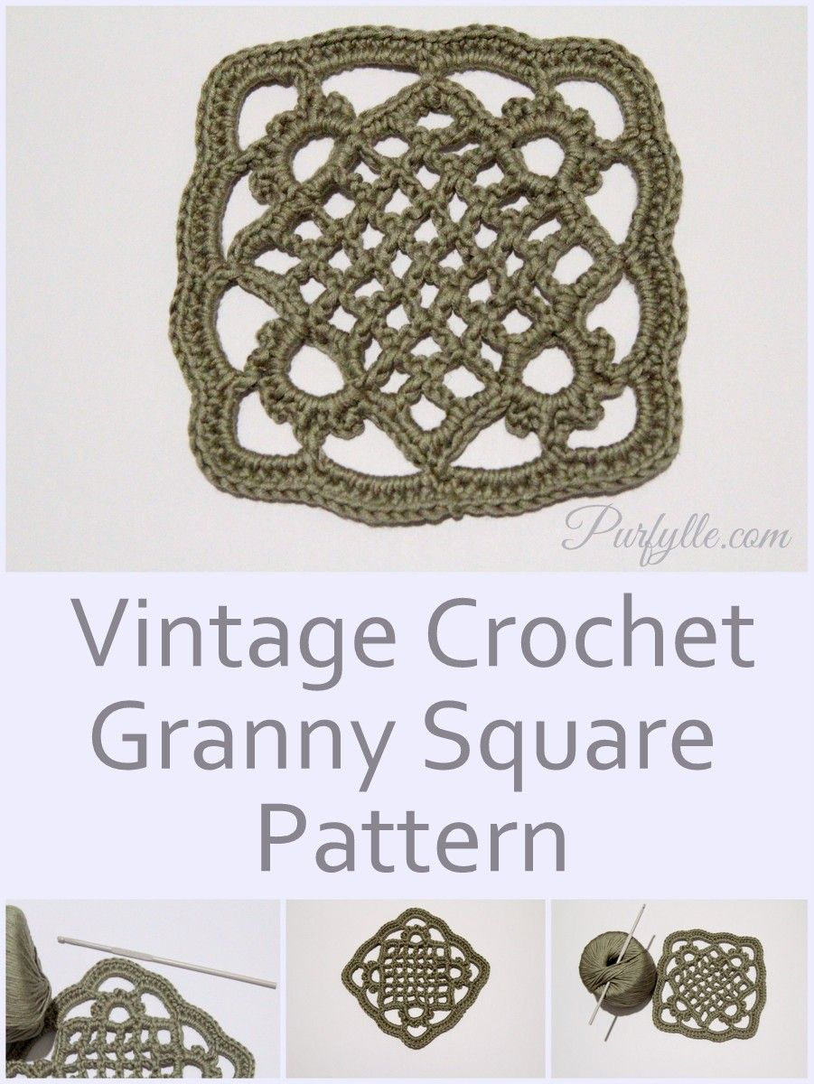Vintage crochet granny square pattern | Crochet | Pinterest | Ganchillo