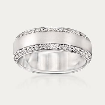 Henri Daussi Men S 80 Ct T W Diamond Wedding Ring In 14kt White Gold Sidney Thomas In 2020 Mens Rings Wedding Diamond Diamond Wedding Rings White Gold Rings