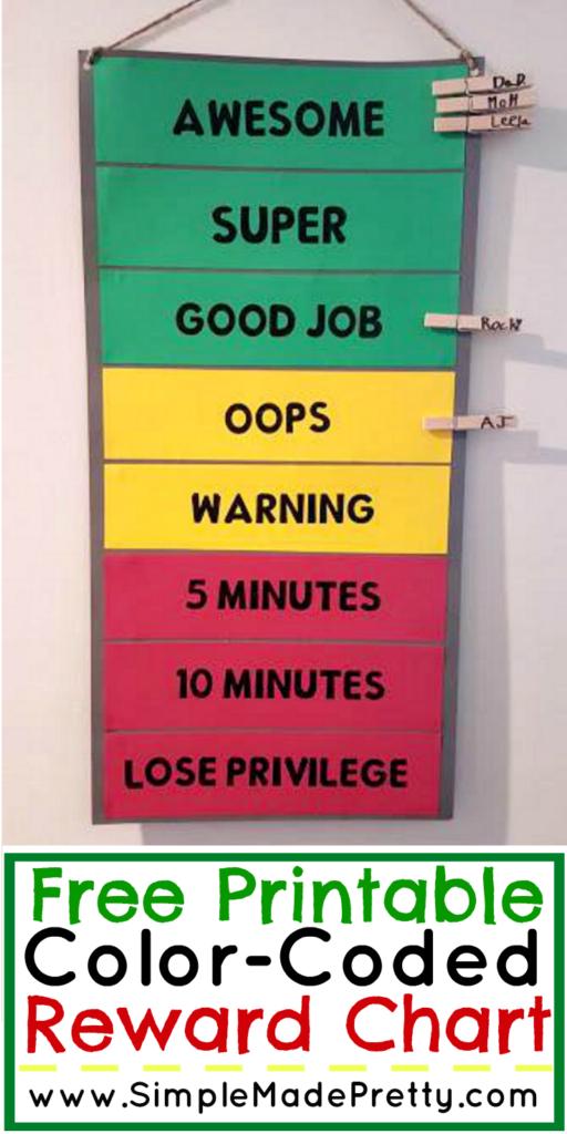 Free Printable Color-Coded Reward Chart | Blog und Ideen