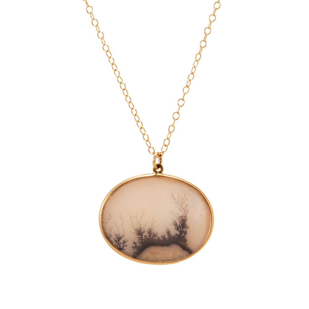 Lola brooks 14k yellow gold necklace with indian dendritic agate yellow gold necklace with indian dendritic agate pendant aloadofball Images