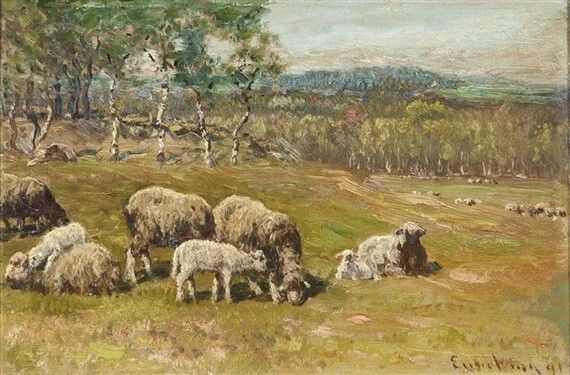 Cattle Grazing  by John J Enneking   Giclee Canvas Print Repro