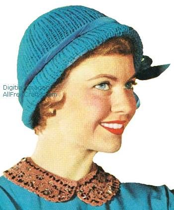 Free vintage Quick Tricks knitted hat pattern from 1954 with ribbed pattern  done on double needles. cf02028da7e