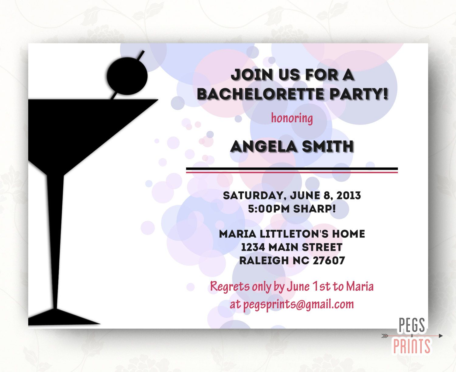 Pink and Black Bachelorette Party Invites (Printable) by PegsPrints ...
