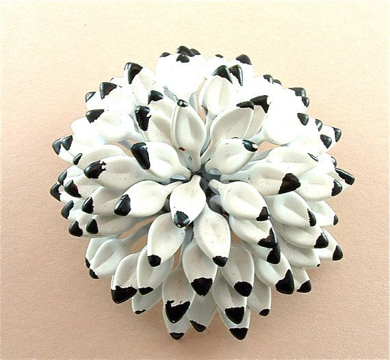 Pom Pom Lotus Brooch Vintage Enamel Jewelry High by kiamichi7, $22.00