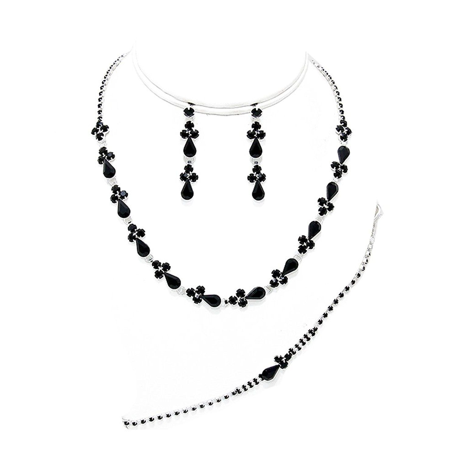 a3786bba6 Black diamante necklace bracelet and earring set for proms parties ** Be  sure to check