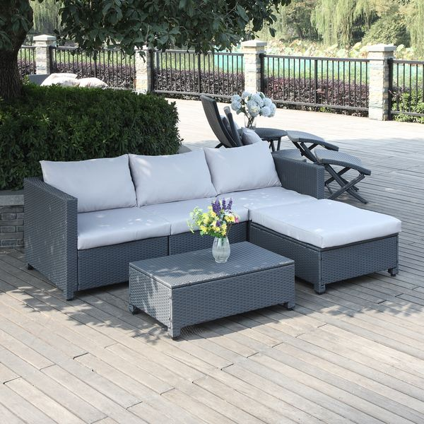 Portfolio Aldrich Grey 5 Piece Wicker Indoor/Outdoor Sectional And Table  With Reversible Ottoman (Grey), Size 5 Piece Sets, Patio Furniture  (Aluminum)
