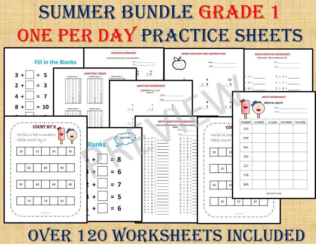 GRADE 1 SUMMER BUNDLE one per day (over 120 Worksheets