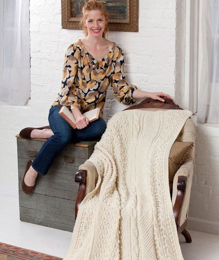 Isle of Aran Throw Knitting Pattern | Red Heart | KNIT AFGHANS ...