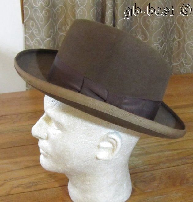 8676e51549277 Vintage c 1930 40s Fedora Homburg HAT Brown The Carlson Company 7 1 ...