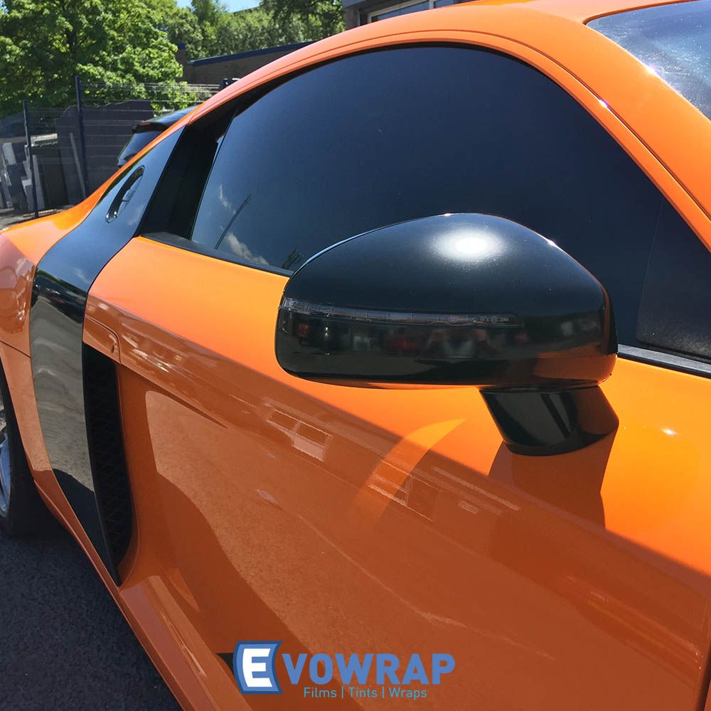 Audi R8 Full Gloss Orange Wrap With Gloss Black Mirrors Car Wrap