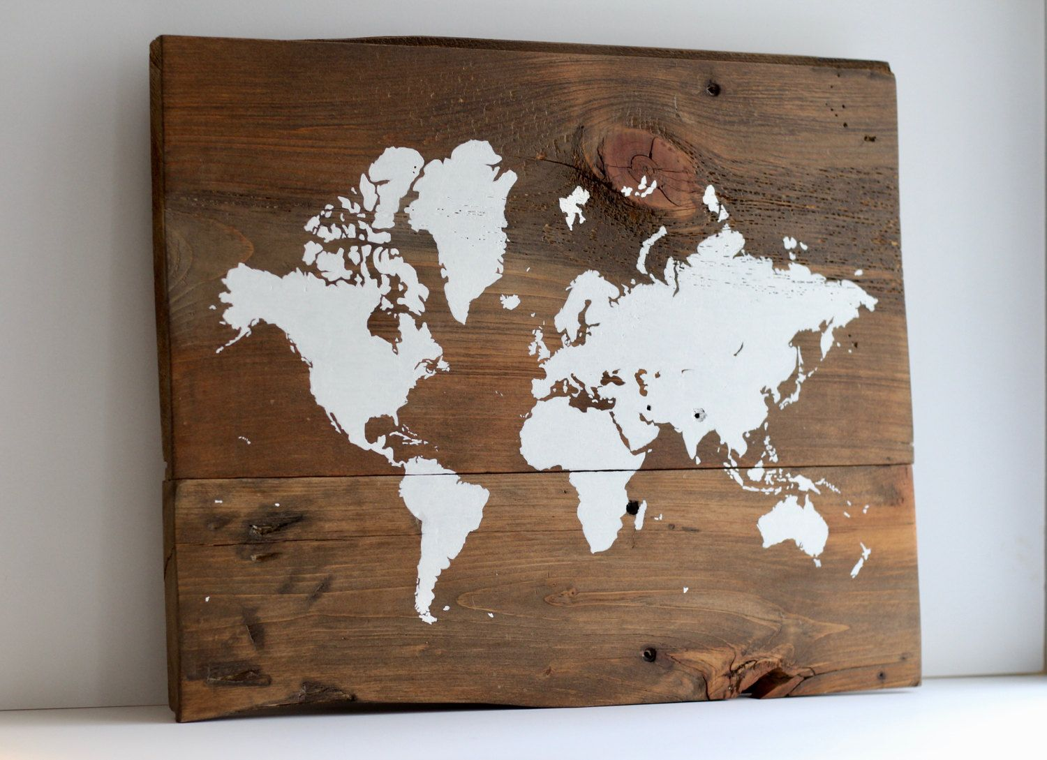 World map on wood rustic wall decor rustic world map map on handmade item by tealbluestudio on etsy world map on wood rustic wall decor gumiabroncs Choice Image